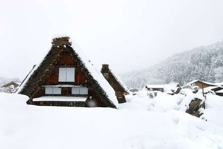 shirakawago: Historic Japanese village Shirakawa-go at winter, travel landmark of Japan
