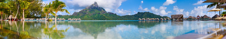 Beautiful view of Otemanu mountain on Bora Bora island. Wide panorama perfect fpr banner Imagens