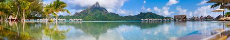 panoramic beach: Beautiful view of Otemanu mountain on Bora Bora island. Wide panorama perfect fpr banner Stock Photo