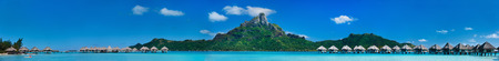 Beautiful view of Otemanu mountain on Bora Bora island. Wide panorama perfect fpr banner Фото со стока