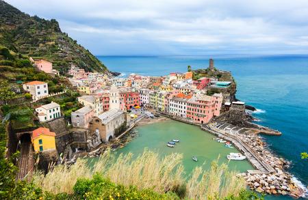 cinque terre: Scenic view of colorful village Vernazza, Cinque Terre, Italy Stock Photo
