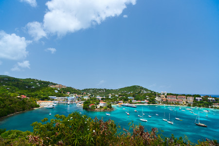 st john: Panorama of Cruz Bay the main town on the island of St. John USVI, Caribbean