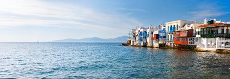 Panorama of Little Venice popular tourist area at village on Mykonos island, Greece, Europe