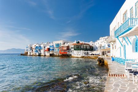 Panorama of Little Venice popular tourist area at village on Mykonos island, Greece, Europe 写真素材