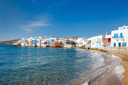Little Venice popular tourist area at village on Mykonos island, Greece, Europe Stock Photo
