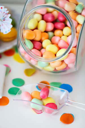 dessert table: Candy jar on a dessert table at party or wedding celebration Stock Photo