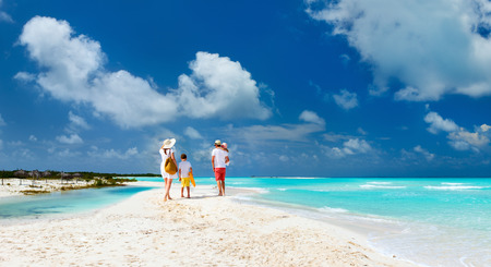 Panorama of  a happy family with kids on tropical beach vacation Stok Fotoğraf - 42146919