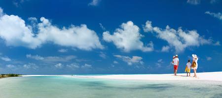 熱帯のビーチでの休暇上の子供と幸せな家庭のパノラマ