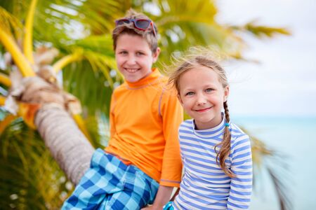 brother and sister: Brother and sister enjoying time at tropical beach sitting on hanging palm Stock Photo