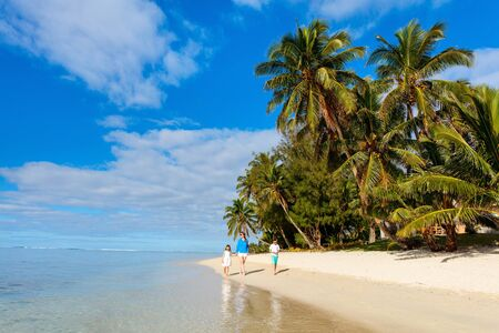 caribbean island: Mother and kids family at tropical beach on Rarotonga island, Cook Islands, South Pacific