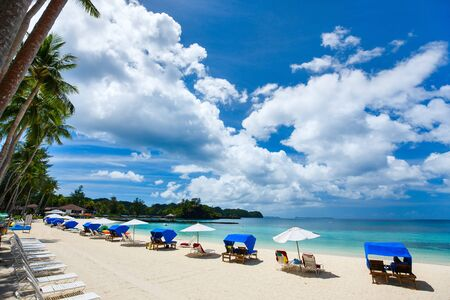 turquoise water: Beautiful tropical beach with white sand, turquoise ocean water and blue sky at exotic island