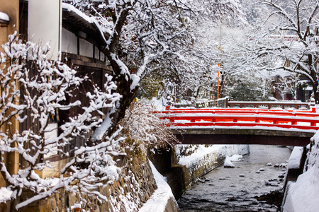 Takayama town in Japan on winter day