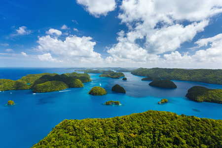 island: Beautiful view of Palau tropical islands and Pacific ocean from above