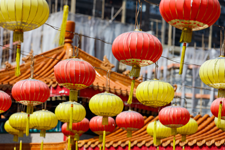 HONG KONG: Hundreds of lanterns hung across the courtyard of Wong Tai Sin temple in Hong Kong Stock Photo