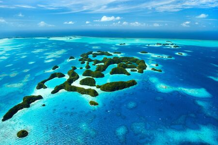 playas tropicales: Beautiful view of 70 islands in Palau from above