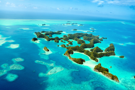 micronesia: Beautiful view of 70 islands in Palau from above