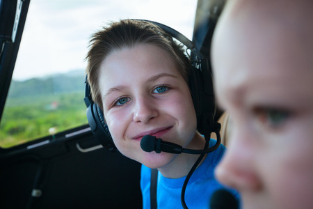 air plane: Kids at cabin of helicopter before scenic flight