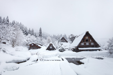 Historic Japanese village Shirakawa-go at winter, travel landmark of Japan