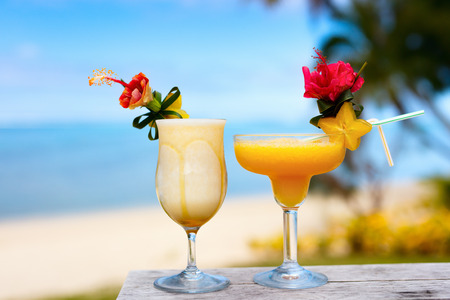 cocktail drinks: Exotic cocktails in a tropical setting