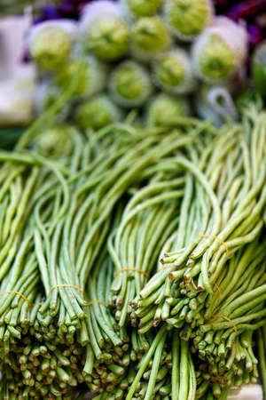 green herbs: Variety of fresh green herbs at market Stock Photo