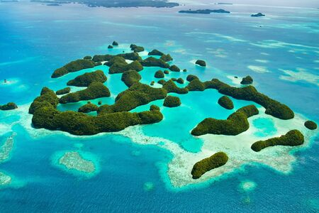 palau: Beautiful view of 70 islands in Palau from above