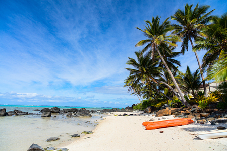 south pacific: Kayaks at beautiful tropical beach with palm trees, white sand, turquoise ocean water and blue sky at Cook Islands, South Pacific