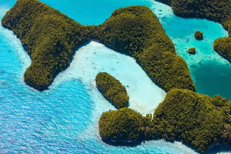 pacific islands: Beautiful view of Palau tropical islands and Pacific ocean from above