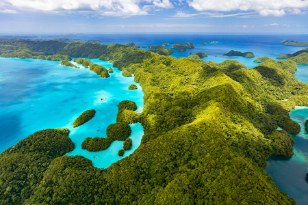 palau: Beautiful view of Palau tropical islands and Pacific ocean from above