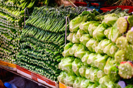 green herbs: Different kinds of fresh green herbs at market Stock Photo