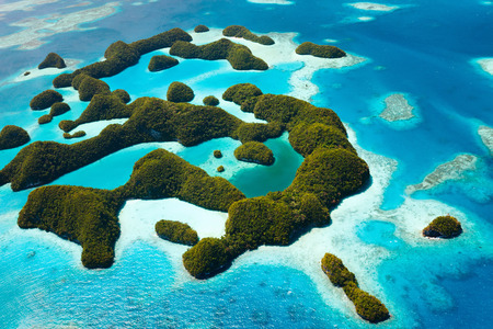 palau: Beautiful view of tropical 70 islands national park in Palau from above