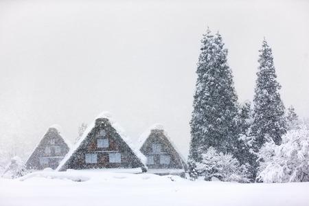 world village: Historic Japanese village Shirakawa-go at winter, travel landmark of Japan