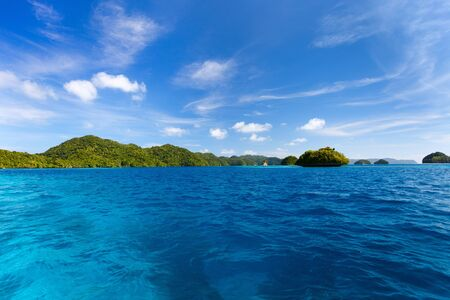 characterized: Scenic lagoon of Palau is characterized by hundreds of limestone islands