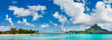 beach panorama: Panorama of stunning beach and beautiful view of Otemanu mountain on Bora Bora island Stock Photo