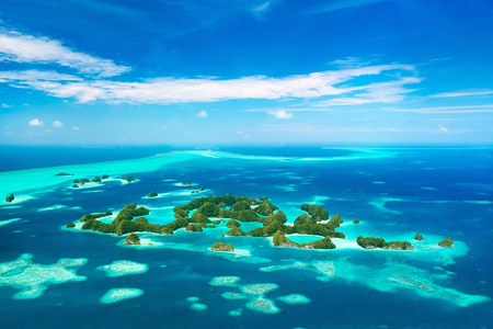 micronesia: Beautiful view of 70 islands national park in Palau from above