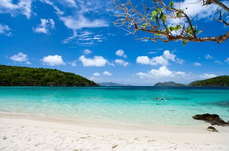 st john: Beautiful tropical beach with white sand, turquoise ocean water and blue sky at St John, US Virgin Islands in Caribbean