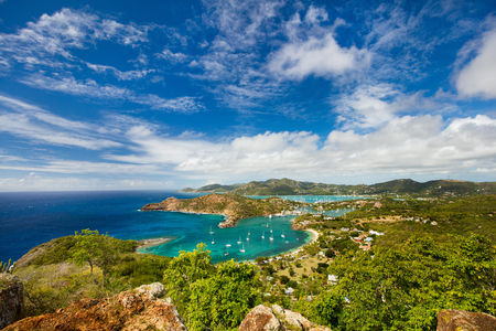 dockyard: View of English Harbor in Antigua from Shirley Heights
