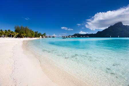 paradise bay: Beautiful beach with a view of Otemanu mountain on Bora Bora island Stock Photo