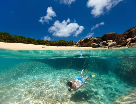 baths: Split photo of young woman snorkeling in turquoise tropical water among huge granite boulders at The Baths beach area major tourist attraction on Virgin Gorda, British Virgin Islands, Caribbean