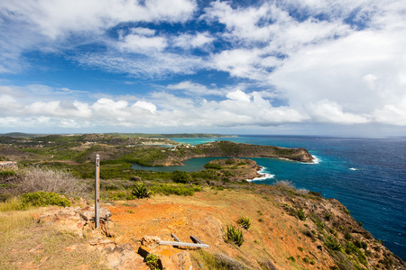 heights: Beautiful view from Shirley Heights on tropical Antigua island in Caribbean
