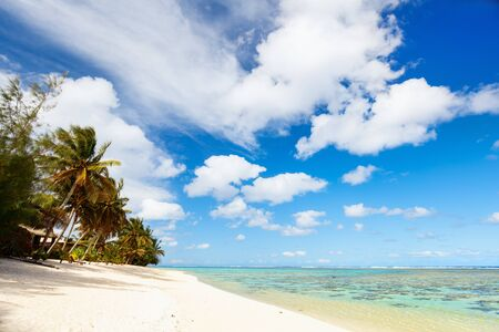 south pacific ocean: Beautiful tropical beach with palm trees, white sand, turquoise ocean water and blue sky at Cook Islands, South Pacific