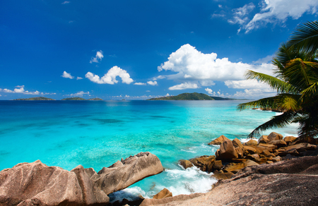 secluded: Beautiful little secluded beach at tropical La Digue island on Seychelles Stock Photo