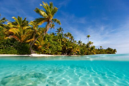 south pacific ocean: Stunning One Foot island in Aitutaki, tropical island with palm trees, white sand, turquoise ocean water and blue sky at Cook Islands, South Pacific