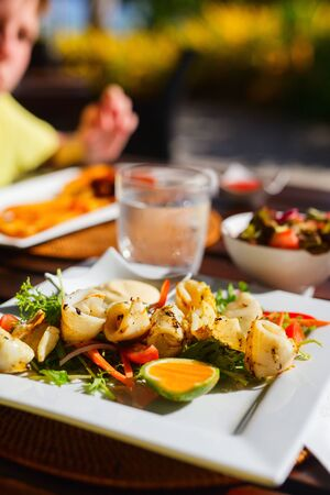 calamari: Delicious fried calamari served with vegetables for lunch Stock Photo