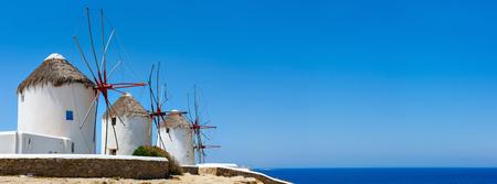 mykonos: Traditional white greek windmills popular tourist destination on Mykonos Island, Greece, Europe