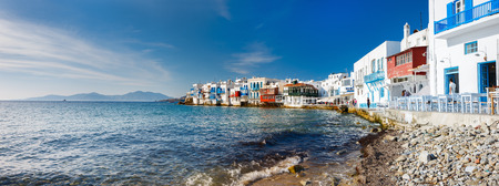 the little venice: Panorama of Little Venice popular tourist area at village on Mykonos island, Greece, Europe Stock Photo
