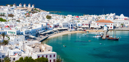 Panorama of traditional greek village with white houses on Mykonos Island, Greece, Europe Stok Fotoğraf