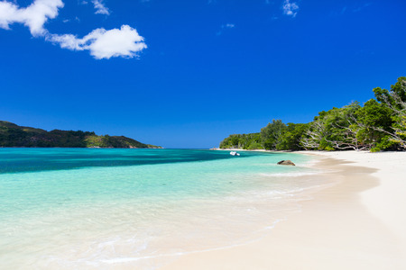 unspoilt: Landscape of stunning tropical beach at Seychelles