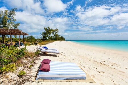 turquoise water: Idyllic tropical beach with white sand, turquoise ocean water and blue sky in Mozambique Africa