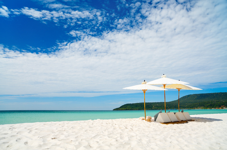 white sand beach: Landscape photo of beautiful white sand exotic beach on Koh Rong island in Cambodia