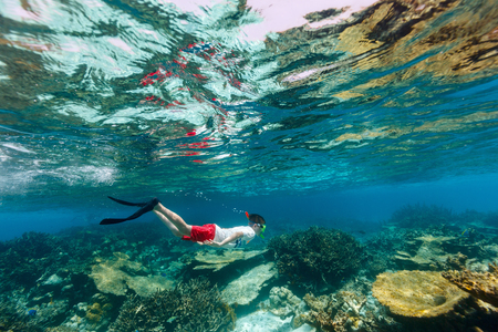 Teenage boy swimming underwater in shallow turquoise water at coral reef Imagens